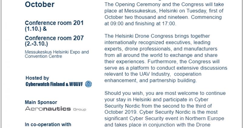 The 1st Drone Congress in Helsinki 1 – 3 October 2019